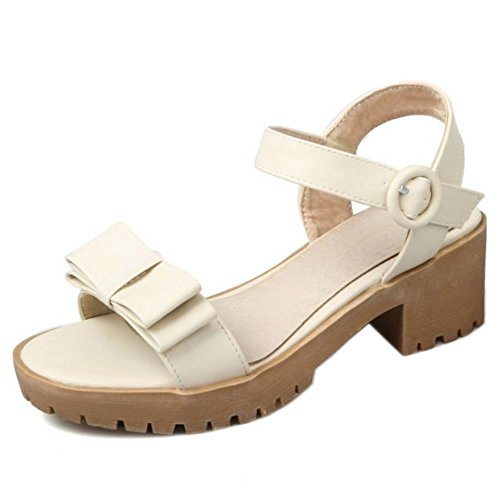 COOLCEPT Damen Mode Knochelriemchen Sandalen Blockabsatz Open Toe Slingback Schuhe Mit Bogen Gr Beige