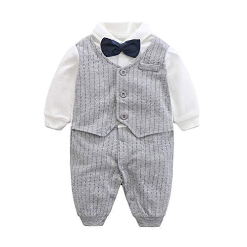Fairy Baby Baby Outfits Langarm Strampler Jungen Smoking Baby Baumwolle Gentleman Outfit Bowknot Weihnachts/Taufstrampler Kleidung, 59(0-3 Monate), Grau Streifen