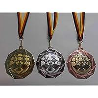 e103 Pokale & Preise Turnen Pokal Kids Medaillen 70mm 3er Set mit Deutschland-Bändern Emblem