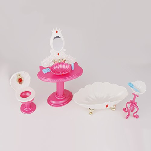 Sharplace Rosa Principessa Deluxe Set Da Bagno per Barbie Doll Bambola Decorazione Accessori