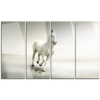 Design Art Beautiful White Horse Runningextra Large Animal Artwork, 48 x 28-4 Panels