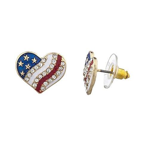 Lux Accessoires Doré Americana Drapeau Américain Boucles d'oreilles clous Cœur