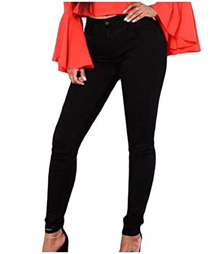 CuteRose Women Trim-Fit High Waisted Solid Color Bodysuit Tapered Jean Black M (Stretch-trim Fit-jeans)