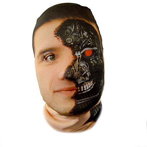 (gruselig Halloween Gesichtsmaske Cyborg Terminator Kostüm Horror Lycra)