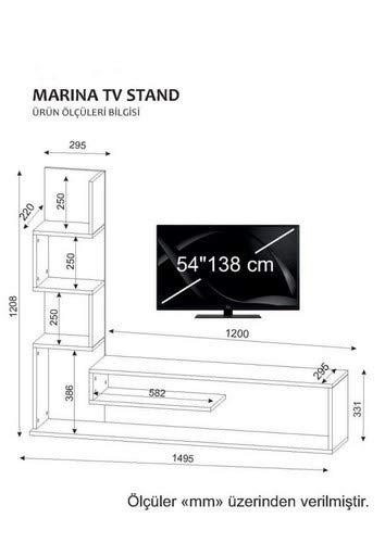 Wohnwand TV Medienwand Lowboard Anbauwand MARINA in Weiss-Cordoba 2053 - 4