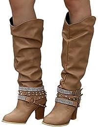 Botines Mujer Otoño Invierno JiaMeng Moda Calzado cálido Botas de Mujer Zapatos de Nieve Botas de Tobillo Zapatos Botas de botín Retro Remaches Brillantes Botas largas