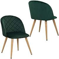 Duhome 2X Chaise Salle à Manger en Tissu (Velours) Vert Chaise rembourrée  Design Retro 108ca6b727c7