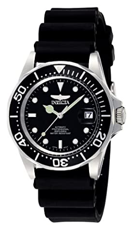 Invicta Pro Diver Men's Automatic Watch with Black Dial Analogue display on Black Pu Strap 9110