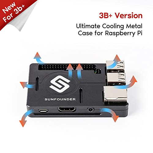 SUNFOUNDER Raspberry Pi Case Aluminum Alloy Raspberry Pi 3, 2, B+ Enclosure Metal Case with Heat Dissipation Silica Pad (MEHRWEG) (Sunfounder Raspberry Pi)