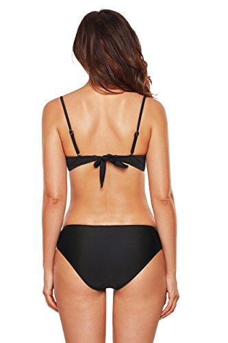 Angerella Frauen-Weinlese-reiner Farben-Bikini-Satz Klassischer Push-up Badeanzüge Bikini Schwarz