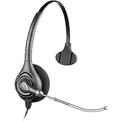 [Cable] Plantronics SupraPlus HW251 - Auricular con micrófono para teléfono fijo o PC, negro