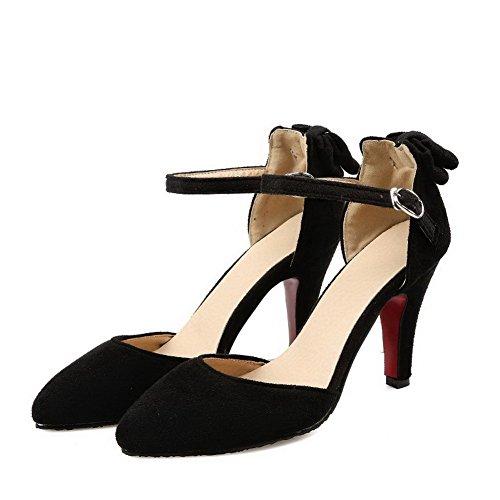 AllhqFashion Femme Pointu Boucle Suédé Couleur Unie à Talon Haut Chaussures Légeres Noir