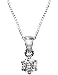 1/4 CT Swarovski redondo de plata esterlina colgante con Adjutable 40,64 cm de cadena de la caja
