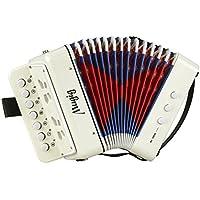 Mugig Acordeón 7 Keys con una Disposición de Teclas como Pianos y Botones Correas de Soporte Juguete de Rhythm Band para Niños los Compartimentos son de Color Rojo y Azul
