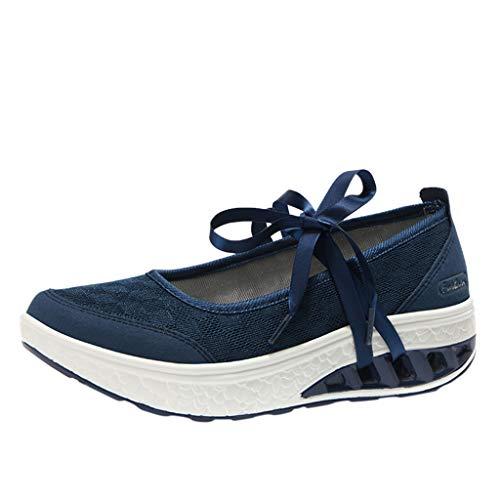 Watopi Femme Mailles Chaussures de Fitness Baskets Mode Compensées Mary Janes pour Femme Espadrilles Chaussures de Sport Eté