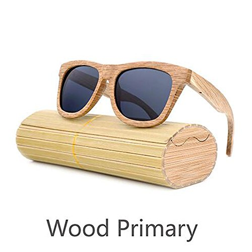 Preisvergleich Produktbild ANLW Retro-Männer Und Frauen Bambus Holz Sonnenbrille Holzmaserung Polarisierte Gläser Sonnenbrille, Black