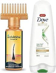 Indulekha Bhringa Hair Oil, 100ml & Dove Hair Fall Rescue Conditioner, 180ml