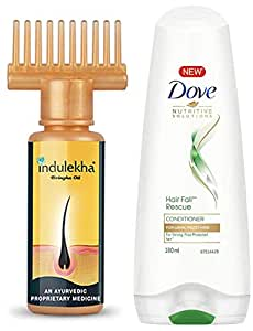 Indulekha Bhringa Hair Oil, 100ml & Dove Hair Fall Rescue Conditioner, 180ml