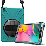 ProCase Bumper con Correa para Galaxy Tab A 10.1 2019 T510 T515, Carcasa Rugosa con Soporte Rotativo Asa de Mano, Funda Robusta Antigolpe para 10.1' Galaxy Tab A SM-T510 T515 2019 -Verde Azulado