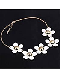 ELECTROPRIME Women's Fashion Sweet Korean Style White Daisy Flower Chain Charm Necklace