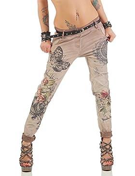 Zarmexx Pantalones de Las Mujeres con los Pantalones Vaqueros Holgados Novio Cinturón de los Pantalones de Jeggings...