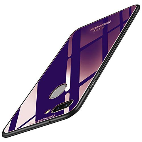 Annure® Shockproof Plain Glass Back Cover Case for Oppo F9 Pro (Blue)