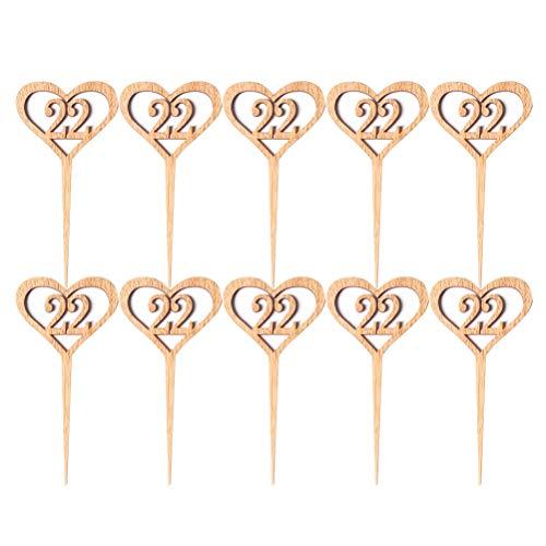 Amosfun 10 stücke Herzform Holz Hochzeit Tischnummern 21-30 Rustikale Hochzeit Tischdekoration Mittelstücke