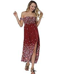 Lover-Beauty Vestido Largo Mujer Floral Print Top Ajustado Casual y Elegante Cuello Redondo Falda