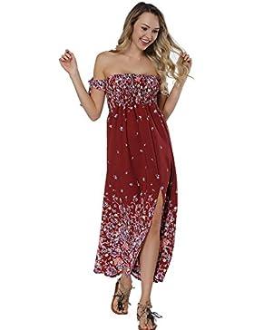 Lover-Beauty Vestido Mujer Largo Sexy Sin Hombro Halter Abrir Floral Print Falda Raya Casual Fiesta Noche o Playa...