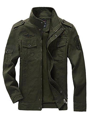 Mallimoda Uomo Primavera Militare Cappotti Trench Zipper Cappotto Slim Fit Casuale Army Green L