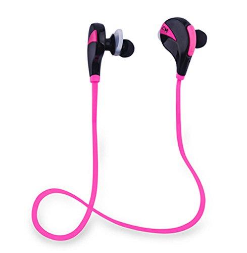 [Aution House-G6 Musique Écouteur Bluetooth 4,0 Stéréo avec Micro Sans Fil Oreillette de Sport étanche pour iPhone, Android ]-Huston Lowell (Rose –Rouge)