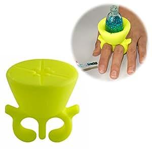 Frola - Schön Verpackt Nagellack Halter Unterstützung Silikonringe Mädchen Spielzeug (Gelb)