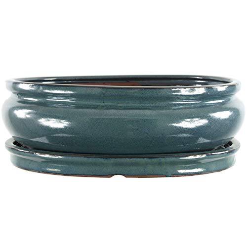 Keramik geflammt, 14cm B:10cm H:5cm mit Untersetzer L Bonsaischale Türkis