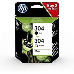 HP 304 Multipack Original cartouches d'imprimante, Noir/Trois Couleurs, Lot de 2