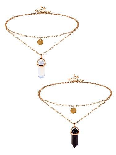 Edelstein Halskette Anhänger Sechseckigen Anhänger Kugel Edelstein Anhänger Halsketten Quarzstein Kette Halsketten, 2 Stück