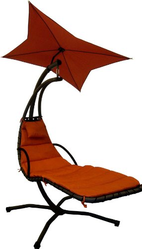 Leco Schwingliege Stahlrohr, inklusiv Sonnenschirm und Polsterauflage, Farbe terracotta