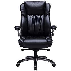 VIVA OFFICE Silla ejecutiva ergonómica de cuero natural regenerado, con respaldo alto y brazos ajustables, Negro .