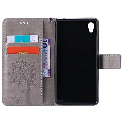 Sony Xperia M4 Aqua Case Leather, Ecoway Cat and tree Patterned Embossing PU Leather Stand Function Protective Cases Covers with Card Slot Holder Wallet Book Design Detachable Hand Strap for Sony Xperia M4 Aqua – gray