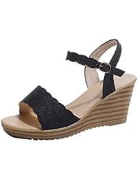 Upxiang Damen High Heels Sandalen Runde Zehe Rutschfeste Plattform Schnalle Pailletten Sandalen Sommer Schuhe