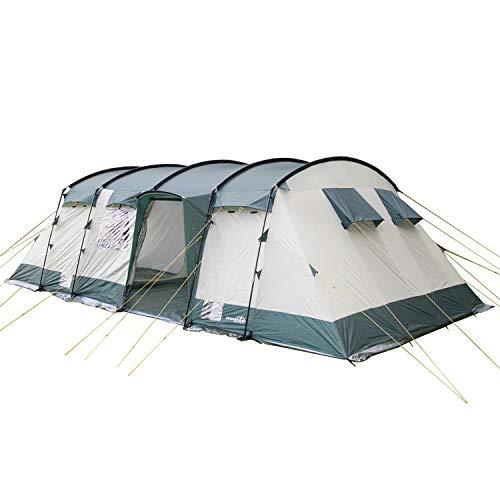 skandika Hurricane 12 Personen Familien-Zelt grün, wasserdicht durch starke 5000 mm Wassersäule. Großes, geräumiges und robustes Steilwand-Zelt, Tunnel-Zelt mit 4 Schlaf-Kabinen, Insekten-Netzen und über 2 m Stehhöhe