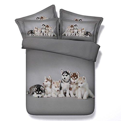 LifeisPerfect JF 107 Schöne Husky Babys 5 Stk Tröster betten Einzelzimmer Doppelzimmer Super King Size Bett in Einem Beutel Husky Hund Drucken Bettdecke Gesetzt (King-size-bett In Einem Beutel)