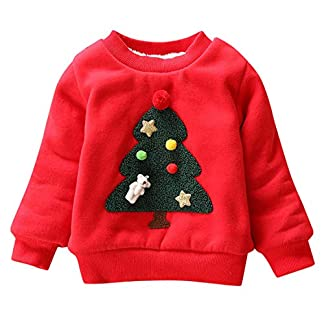 Happy Cherry – Sudadera Niños Navidad Ropa Infantil con Estampado Navideño para Primavera Otoño Transpirable Camiseta Cuello Redondo Algodón 0-1 Años