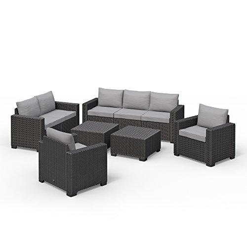 Allibert California Lounge Set Polyrattan Gartenmöbel Rattanoptik Sitzgruppe 6-teilig -