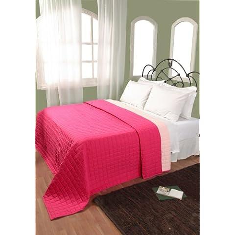 Homescapes manta acolchada reversible de algodón suave para cama o sofá color rosa fucsia y rosa claro 230 x 250