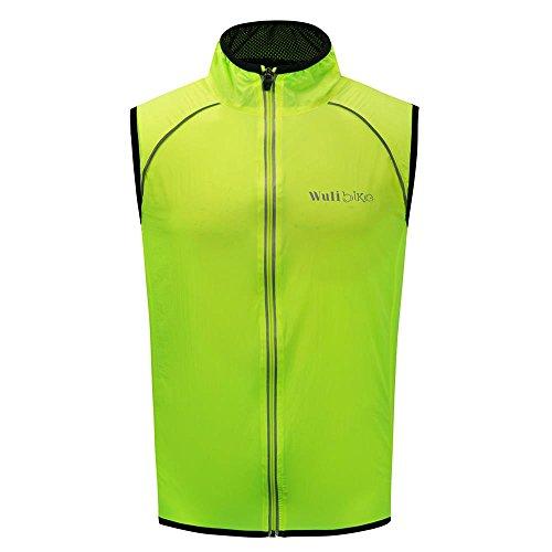 logas Gilet Ciclismo Uomo Antivento Giacca Ciclismo Uomo Ultraleggera e Riflettente Abbigliamento Ciclismo Senza Maniche Nero/Verde