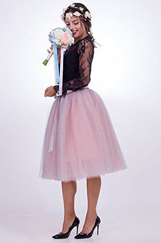 Babyonline Tüllrock Damen Midi Grau/Rosa