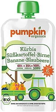 Pumpkin Organics SONNIG | Bio Gemüse-Quetschie aus Kürbis, Süßkartoffel, Birne, Banane und Blaubeere (8 x 100g