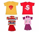 Indistar Boys Round Neck Cotton T-shirt And Pure Cotton Baba Suit ( (Pack of 2 T-shirt And Pack of 2 BaBa Suit )-(Assorted Color/Print )-Multicolor-3- Amazon