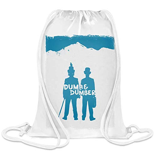 World Designz Dumm und Dümmer - Dumb and Dumber Custom Printed Drawstring Sack | 100% Soft Polyester| 5 Liter Capacity| Adjustable String Closure| The Stylish Bag For Every Day Use| ()