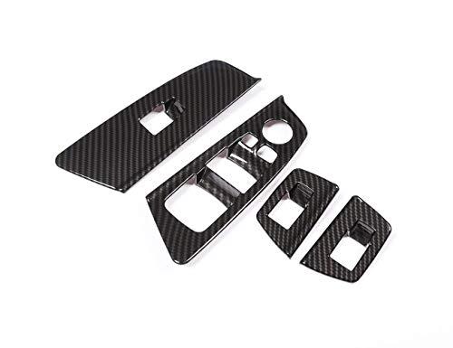 Accessoire intérieur de véhicule Automobile, pour série 5, G30 2017 2018, Cadre de Bouton-Poussoir lève-vitre Gauche Trim ABS en Fibre de Carbone Plastique chromé Noir, 4 pcs/kit